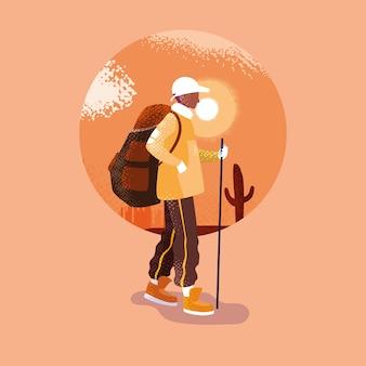 Mężczyzna podróżnik w pustynnej krajobrazowej scenie