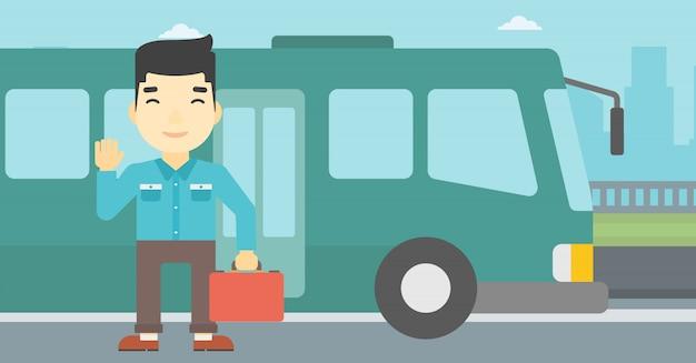 Mężczyzna podróżuje autobusową wektorową ilustracją.