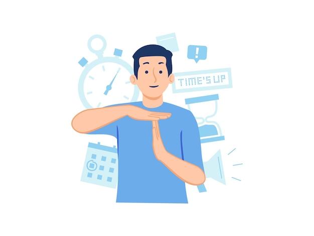 Mężczyzna pokazujący gest ręki z limitem czasu przerwy z zegarkiem ze stoperem i ilustracją koncepcji zegara