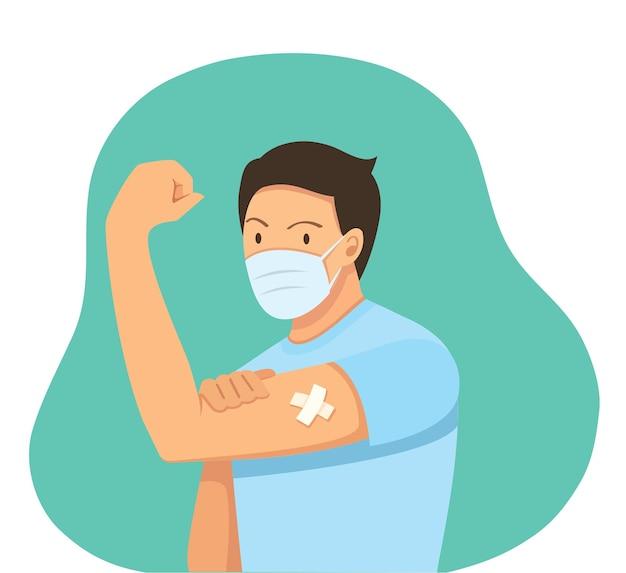 Mężczyzna pokazujący koncepcję szczepień szczepionych