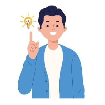 Mężczyzna pokazuje gest świetnego pomysłu