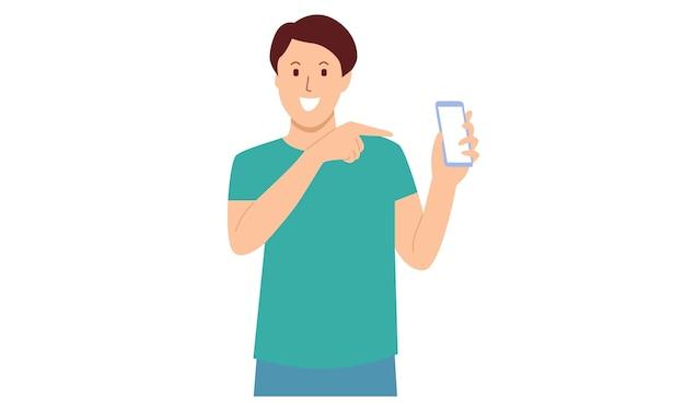 Mężczyzna pokazuje smartfon i wskazuje na to