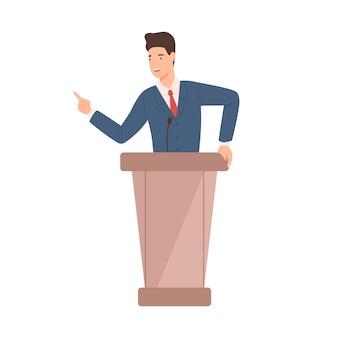 Mężczyzna polityk w garniturze stojący na płaskiej ilustracji mównicy