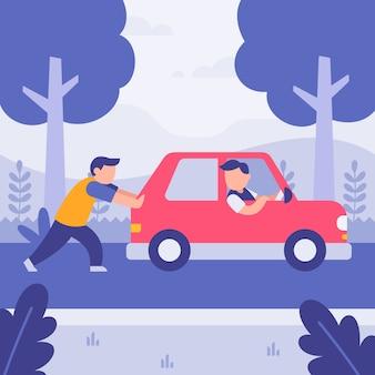 Mężczyzna pomaga przyjacielowi pcha łamanego samochód