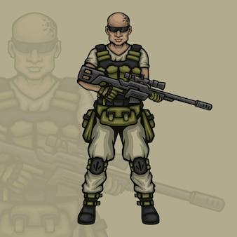 Mężczyzna postać do gry snajper