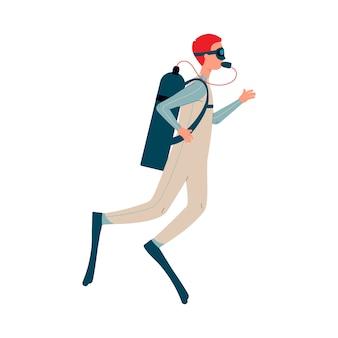 Mężczyzna postać z kreskówki nurkowanie z akwalungiem