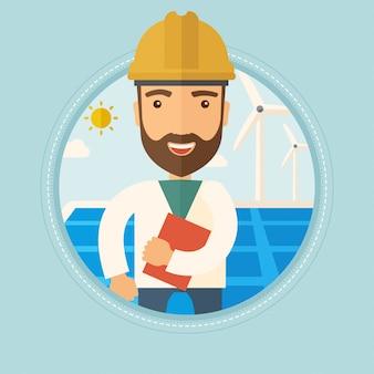 Mężczyzna pracownik elektrowni słonecznej i farmy wiatrowej