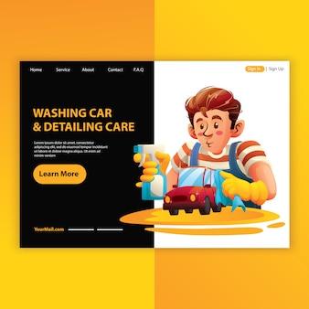 Mężczyzna pracownik mycie samochodu i usługi opisywania