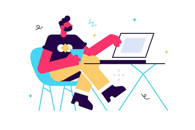 Mężczyzna pracujący na ilustracji laptopa