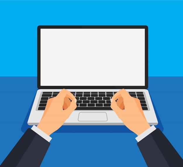 Mężczyzna pracujący na komputerze. wpisz lub wydrukuj na klawiaturze przed pustym białym monitorem. szablon laptopa z pustym ekranem. ilustracja.