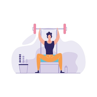 Mężczyzna pracujący na siłowni