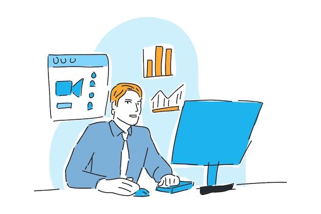 Mężczyzna pracujący online biznes rysowany ilustracja