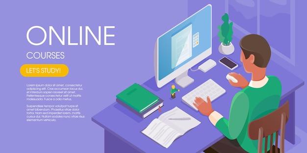 Mężczyzna pracujący online w domowym biurze. postać siedząca przy biurku, patrząca na ekran komputera. koncepcja edukacji internetowej. nowoczesne izometryczne ilustracji wektorowych.