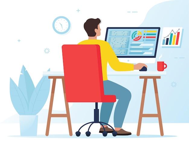 Mężczyzna pracujący przy komputerze. koncepcja pracy niezależnej lub biurowej, księgowość lub marketing. ilustracja w stylu płaski