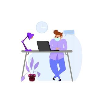 Mężczyzna pracujący w domu lub w biurze na kwarantannie zamaskowanych tabletach, a także czytający wiadomości o gospodarce lub koronawirusie.