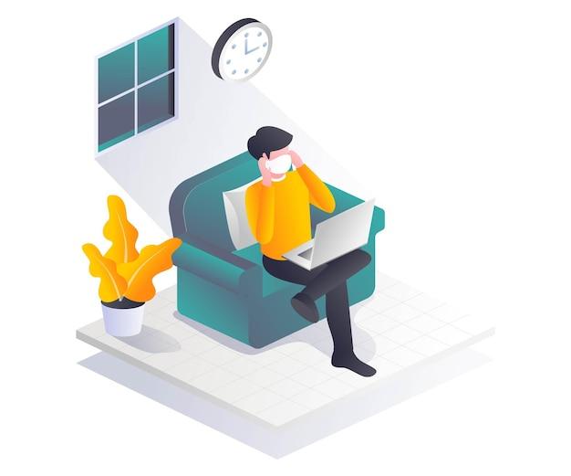 Mężczyzna pracujący w domu w masce w izometrycznej ilustracji
