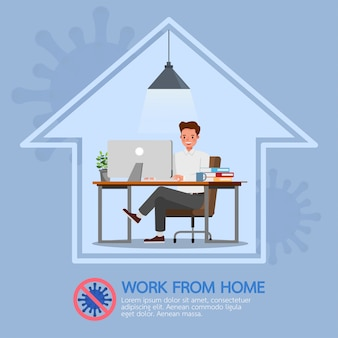 Mężczyzna pracujący w domu, zatrzymać koronawirusa, społeczne dystansowe koncepcja koncepcja postaci