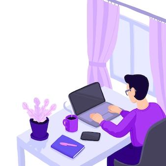 Mężczyzna pracujący w home office. postać siedząca przy biurku w pokoju, patrząc na ekran komputera.
