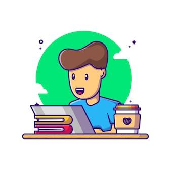 Mężczyzna pracujący z laptopem ilustracja kreskówka. dzień pracy koncepcja biały na białym tle. płaski styl kreskówki