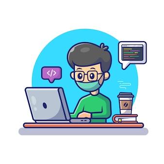 Mężczyzna pracuje na laptop ikony ikonie. postać z kreskówki maskotka praca w domu.