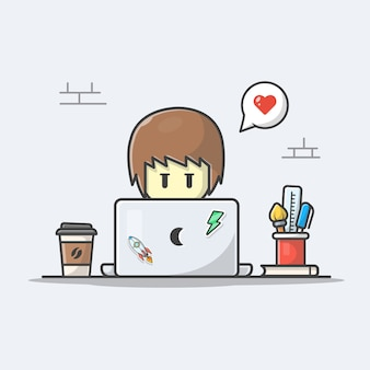 Mężczyzna pracuje na laptop ikony ikonie