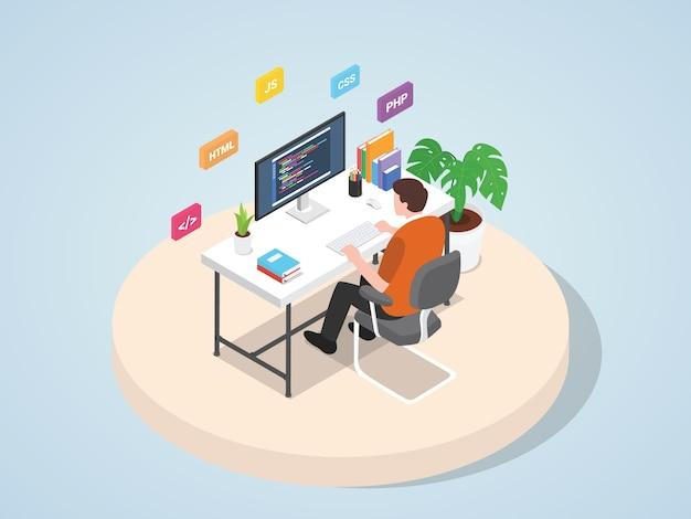 Mężczyzna pracuje na laptopie programuje kodowanie strony internetowej strony docelowej strony szablonu mobilnego sztandaru z isometric 3d mieszkania stylu ilustracją.