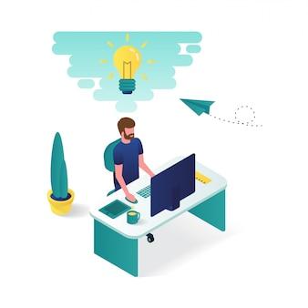Mężczyzna pracuje na swoim biurku w projektowaniu graficznym 3d izometryczny ilustracji.