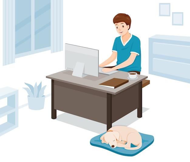 Mężczyzna pracuje w domu, uczyć się w domu, zakupy w domu, z psem, ochrona przed chorobą koronawirusa, covid-19, dystans społeczny
