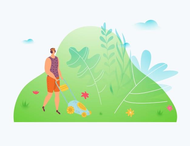 Mężczyzna pracuje w ogrodzie, pracownik używa kosiarki do trawy, narzędzia do trawnika, ogrodnik natura na zewnątrz, ilustracja. kosić pole, pielęgnacja lato park, zielone tło krajobrazu, praca w rolnictwie