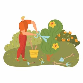 Mężczyzna pracuje w pobliżu drzewa, ludzie zajmujący się ogrodnictwem, młody ogrodnik, ścięta zieleń, ilustracja kreskówka. zadowolony robotnik narzędzia, nożyce do przycinania ulicy, krzaki, energiczna aktywność.