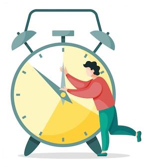 Mężczyzna próbuje zatrzymać zegarek, organizacja procesu pracy, planowanie godzin nadliczbowych odizolowana osoba