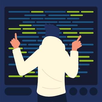 Mężczyzna programuje kody stron internetowych dla programistów
