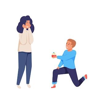 Mężczyzna proponuje kobiecie, dając jej pierścień płasko na białym tle ilustracji