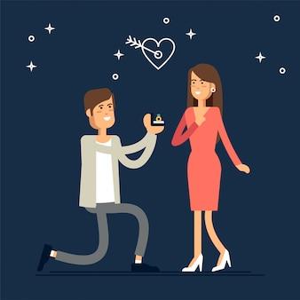 Mężczyzna proponuje kobiecie poślubić go i daje pierścionek zaręczynowy. v.