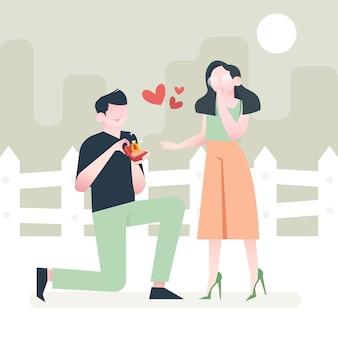Mężczyzna proponuje kobietę, dając pudełko z diamentem