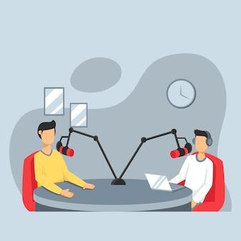 Mężczyzna prowadzący radio przeprowadzający wywiady z gośćmi w stacji radiowej, podcast w studio