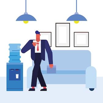Mężczyzna przed kanapą w projekcie biura, siły roboczej obiektów biznesowych i motyw korporacyjny