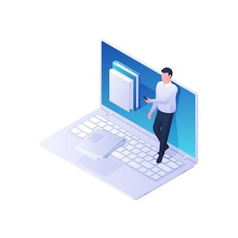 Mężczyzna przeglądający izometryczną aplikację biblioteki online. męska postać z telefonem czyta wybory z książki internetowej. nowoczesna wiedza multimedialna i koncepcja szybkiego wyszukiwania informacji.