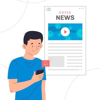 Mężczyzna przeglądający w internecie aktualizacje dotyczące koronawirusa