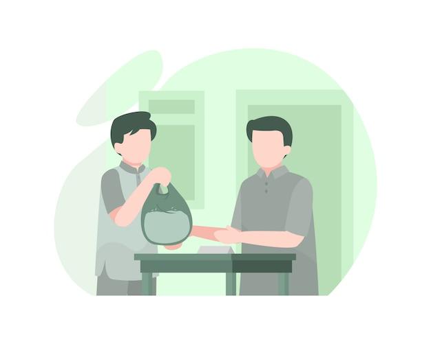 Mężczyzna przekazuje torbę ryżu biednym ludziom