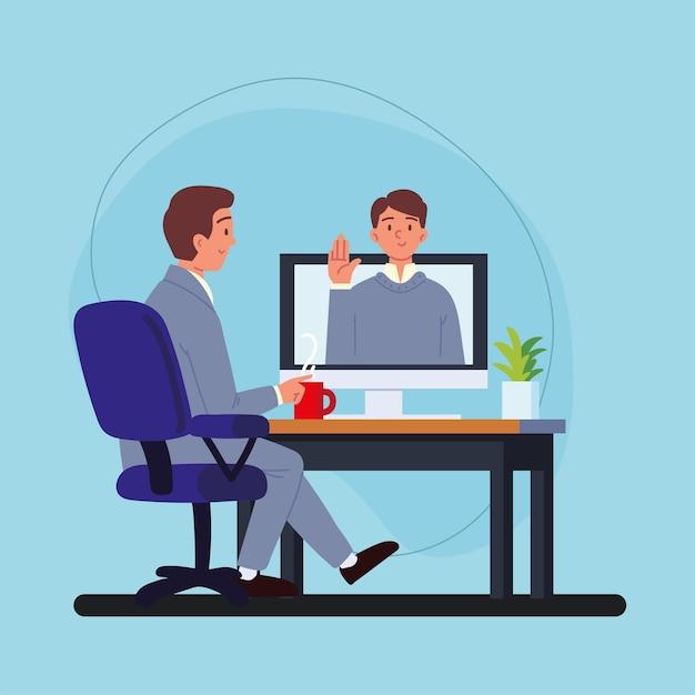Mężczyzna przeprowadzający rozmowę kwalifikacyjną z komputerem