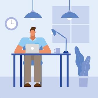 Mężczyzna przy biurku z laptopem w biurze projekt, siła robocza obiektów biznesowych i motyw korporacyjny