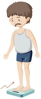 Mężczyzna przybiera na wadze na białym tle