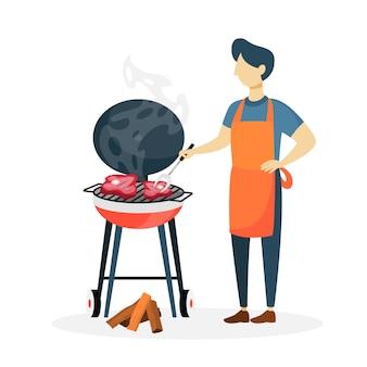 Mężczyzna przygotowuje mięso bbq na białym tle.