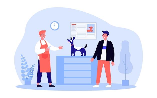 Mężczyzna przyprowadza swojego psa do strzyżenia do groomer. ilustracja wektorowa płaski. właściciel dbający o wygląd i zdrowie swojego pupila, groomer z nożyczkami. opieka, zwierzęta, pielęgnacja, higiena, koncepcja wystawy psów