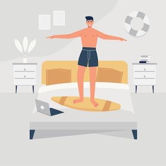 Mężczyzna radośnie tańczy na swoim łóżku. płaska ilustracja mężczyzny wewnątrz jego wnętrza domu.