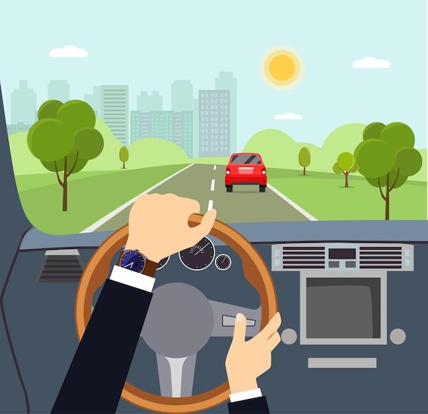 Mężczyzna ręce kierowcy na kierownicy samochodu ilustracja kreskówka wektor płaski styl