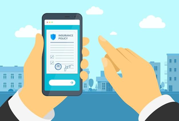 Mężczyzna ręka trzyma smartfon z polisą ubezpieczeniową formularz online podpisuje dokument ochrony umowy na