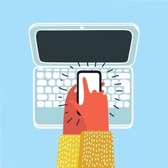 Mężczyzna ręka trzyma telefon z witryny wiadomości ze świata na ekranie w biurze