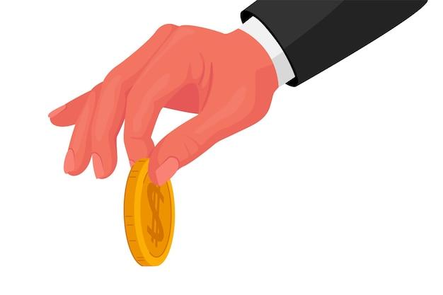 Mężczyzna ręka w formalnym nosić złotą monetę w palce na białym tle